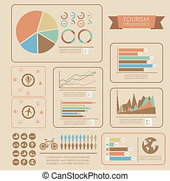 illustration of tourism infographics, with colors graphs and tourism icons, vector illustration