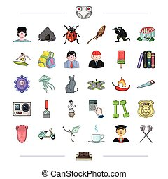 tourism, medicine, history and other web icon in cartoon style., sailor, sticks, sofa, icons in set collection.