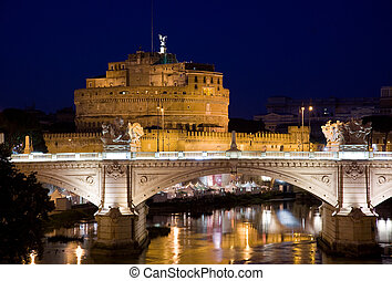 night image of the famous destination of castel sant angelo in vatican city rome Italy