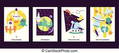 tourism., stars., illustration., heiligenbilder, alliens, set., fliegendes, uhr, raum, ufo, karikatur, technoogy., satelliten, uknown., vektor, wissenschaft, karten, treffen, raumschiff, rockets.