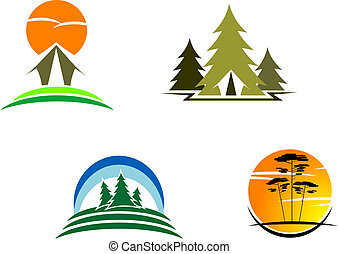 Tourism symbols for design isolated on white