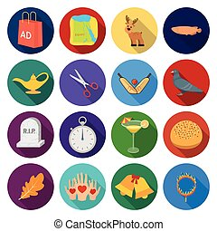 tourism, textiles, history, and other web icon in flat...