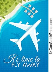 Tourism theme poster. White airplane flying over the sea to the tropical resort, top view. Design template for brochures/advertising/banners/flyers and so. Vector illustration, eps10.
