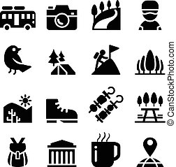 Tourism , travel , Adventure , Discovery , camping , Trail icon set