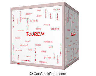 Tourism Word Cloud Concept on a 3D cube Whiteboard