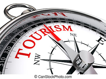 tourism word on conceptual compass