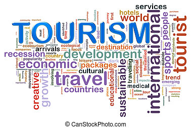 Illustration of wordcloud representing concept of tourism