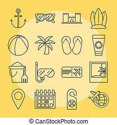 tourisme, été, icônes, billet, style, ensemble, récréation, fruit, linéaire, vacances, snorkel, paume, voyage, balle, included
