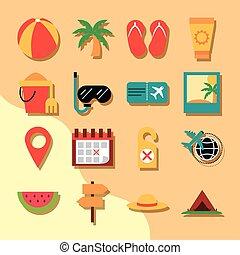 tourisme, été, icônes, billet, style, ensemble, récréation, fruit, plat, vacances, snorkel, paume, voyage, balle, included