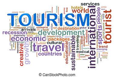 tourisme, étiquettes, mot