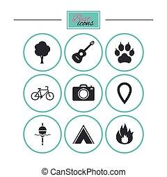 tourisme, camping, icons., peche, brûler, et, bike.