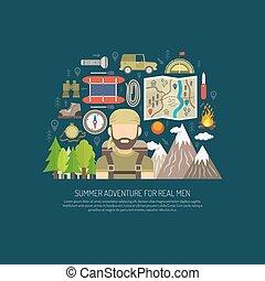 tourisme, concept, plat