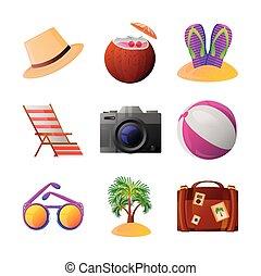 tourisme, détaillé, voyage, style, ensemble, icônes, apparenté, vacances été, récréation