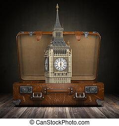 tourisme, grand, angleterre, vendange, voyage, ou, grande-bretagne, grand ben, tour, concept., ouvert, voyage, suitcase., london.