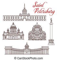 tourisme, landmarks., saint, voyage, petersburg, russe