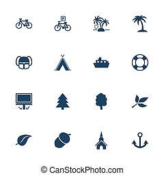 tourisme, loisir, icônes