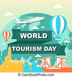 tourisme, mondiale, illustration, jour, amsterdam, voyage, ville, europe, pays-bas