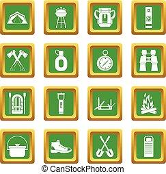 tourisme, récréation, ensemble, vert, icônes