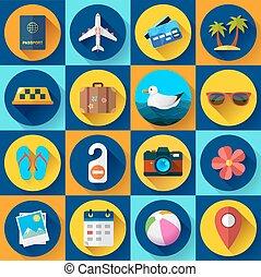 tourisme, style, set., plat, voyage, icône, conçu