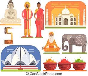 tourisme, traditionnel, célèbre, touristique, attractions, india., symboles, culture, voir, indien, inclure, architecture, habitudes, habillement, religieux