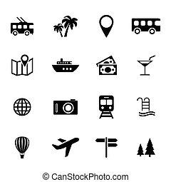 tourisme, vacances, ensemble, -, icônes