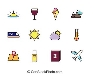 tourisme, vacances, icônes, voyage, ensemble, apparenté