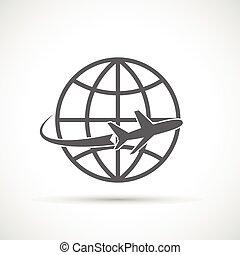 tourisme, voyage, avion, symbole