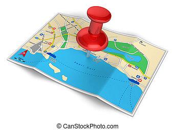 tourisme voyage, gps, concept, navigation