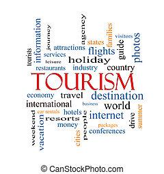 tourismus, begriff, wort, wolke