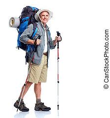 tourist., älter, man.