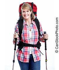 tourist., ältere frau, hiking.