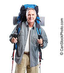 tourist., älterer mann, hiking.