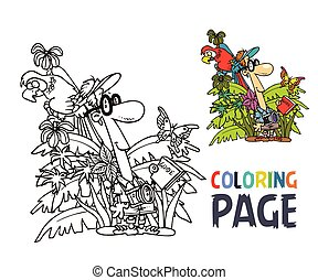 tourist and jungle coloring page
