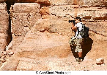 Tourist and Nabatean temple Petra, Jordan
