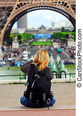 Tourist at Eiffel tower
