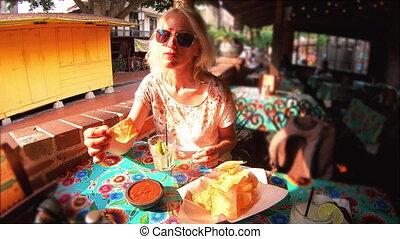 Tourist at El Pueblo Los Angeles - SLOW MOTION: Joyful...