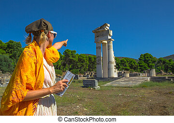 Tourist at Temple of Asklepieion
