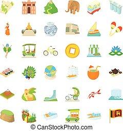 Tourist attraction icons set, cartoon style - Tourist...