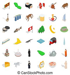 Tourist attraction icons set, isometric style - Tourist...