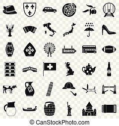 Tourist attraction icons set, simple style - Tourist...