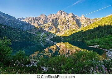 tourist attraction of Poland lake Morskie Oko in the Tatra mountains at dawn