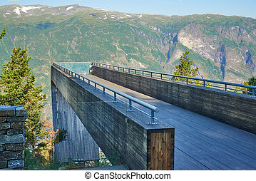 Tourist attraction. Stegastein Viewpoint in a summer sunny day, Flam, Norway