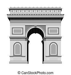 Arc de Triomphe. Travel, journey concept. Famous monuments of world countries. Vector