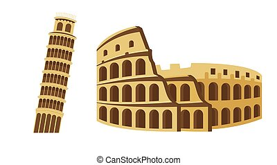 Colosseum and Leaning Tower of Pisa Tourist attraction set. Travel, journey concept. Famous monuments of world countries.
