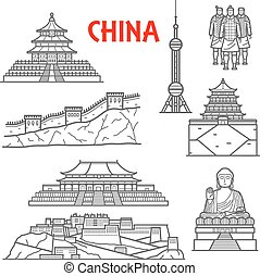 Tourist attractions of China icon, thin line style - Famous...