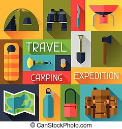 Tourist background with camping equipment in flat style.