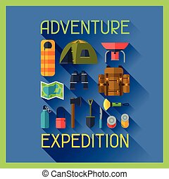 Tourist background with camping equipment in flat style