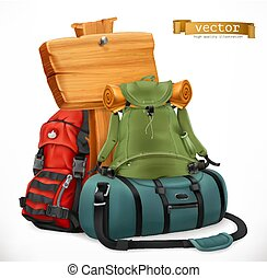 Tourist backpack and bag, Travel, 3d vector icon