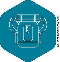 Tourist backpack with mat icon, outline style