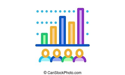 tourist bar graph Icon Animation. color tourist bar graph animated icon on white background